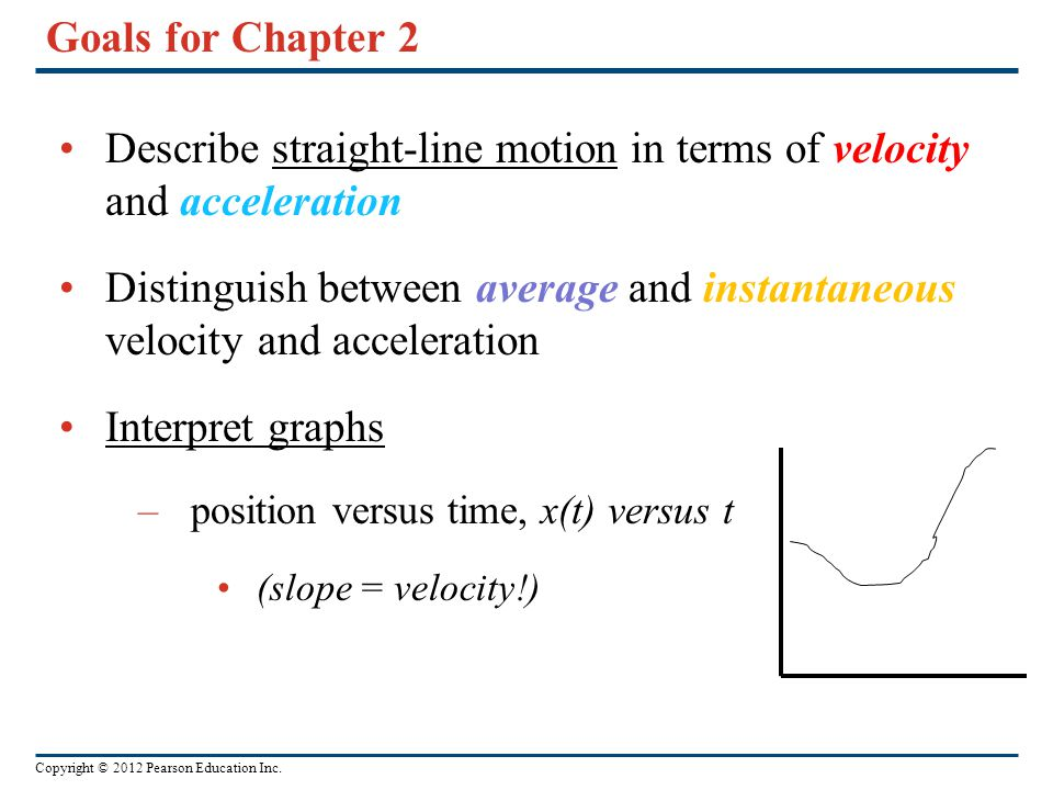 Copyright © 2012 Pearson Education Inc. Goals for Chapter 2 Describe straight-line motion in terms of velocity and acceleration Distinguish between av