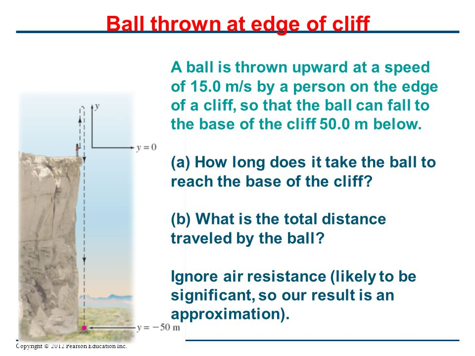 Copyright © 2012 Pearson Education Inc. Ball thrown at edge of cliff A ball is thrown upward at a speed of 15.0 m/s by a person on the edge of a cliff