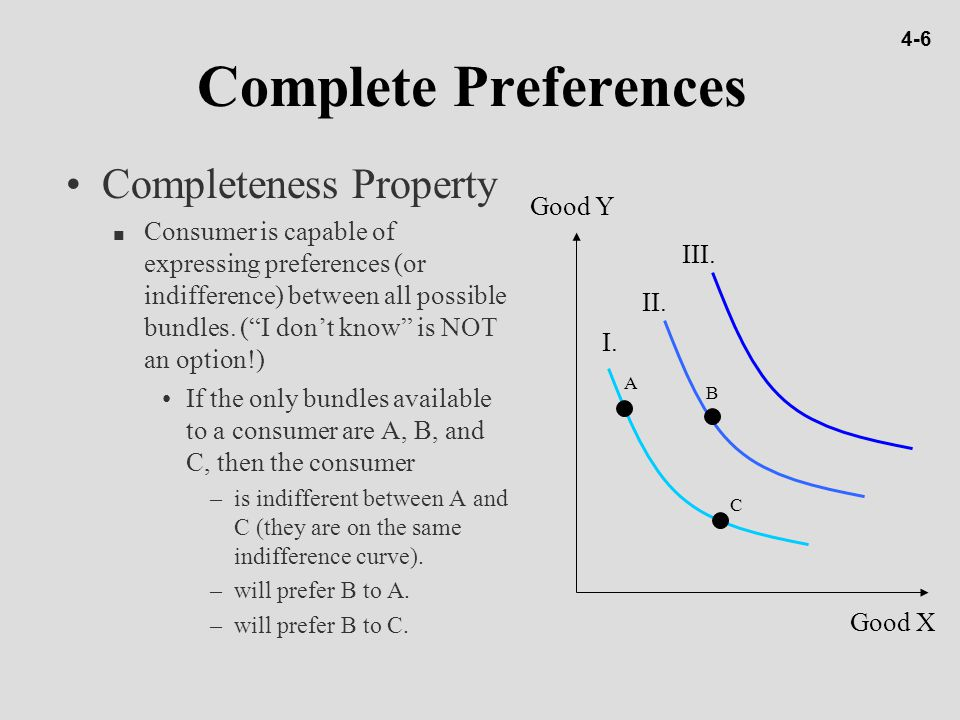 """Complete Preferences Completeness Property n Consumer is capable of expressing preferences (or indifference) between all possible bundles. (""""I don't k"""