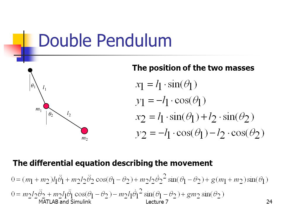 MATLAB and SimulinkLecture 724 Double Pendulum The position of the two masses The differential equation describing the movement