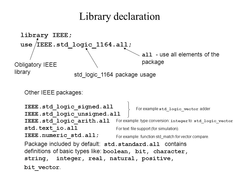 Sample design library IEEE; use IEEE.std_logic_1164.all; entity multiplexer is port ( signal s : in std_logic; signal x0,x1 : in std_logic_vector(7 downto 0); signal y : out std_logic_vector(7 downto 0) ); end entity multiplexer; architecture data_flow of multiplexer is begin y <= x1 when ( s = 1 ) else x0; end architecture data_flow;
