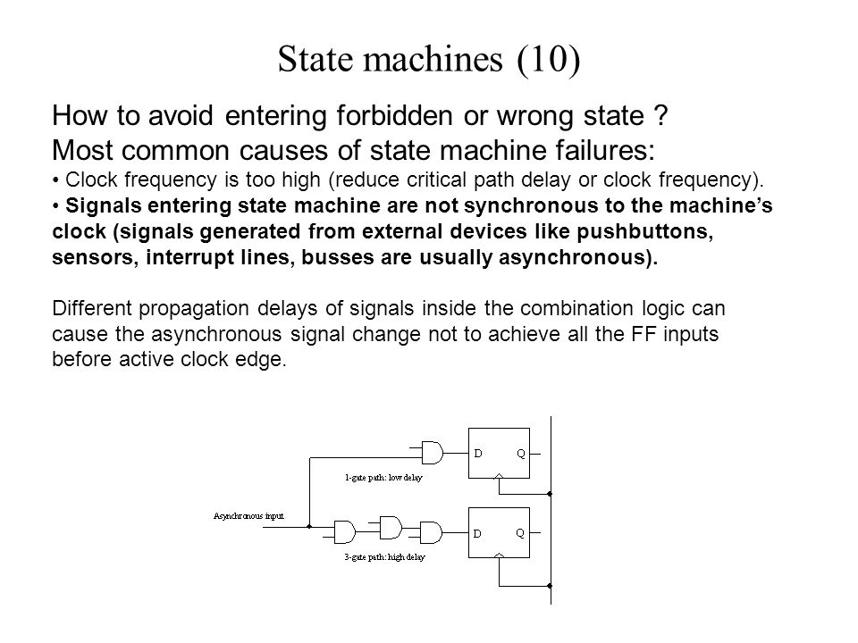 State machines (10) How to avoid entering forbidden or wrong state .