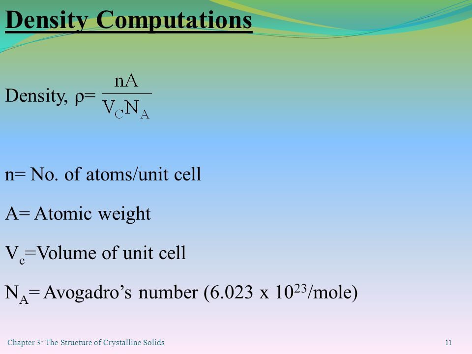 Chapter 3: The Structure of Crystalline Solids 11 Density Computations Density, ρ= n= No.