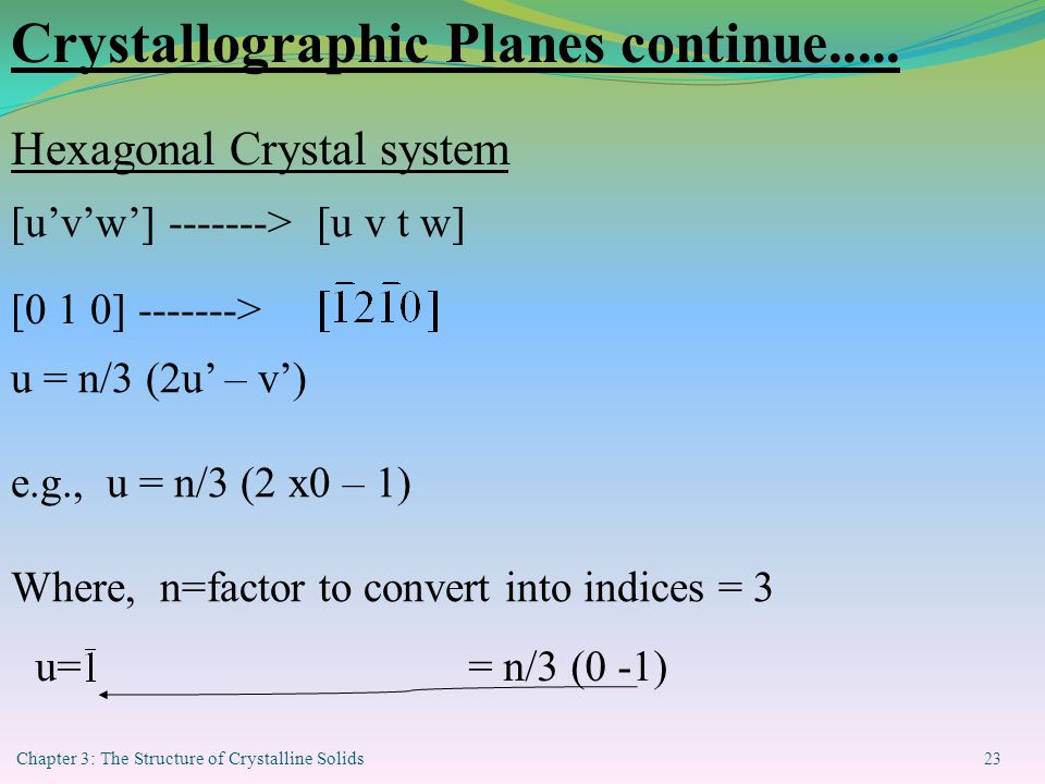 Chapter 3: The Structure of Crystalline Solids 23 [u'v'w'] -------> [u v t w] [0 1 0] -------> u = n/3 (2u' – v') e.g., u = n/3 (2 x0 – 1) Where, n=factor to convert into indices = 3 u= = n/3 (0 -1) Crystallographic Planes continue.....