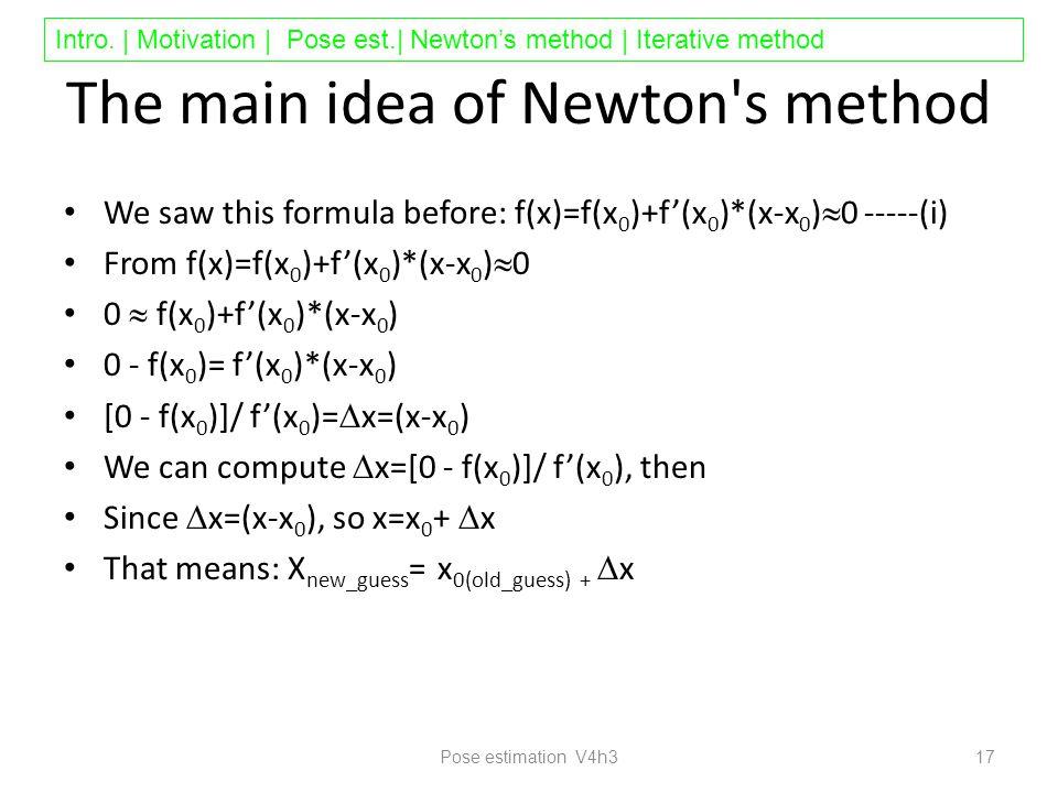 Intro. | Motivation | Pose est.| Newton's method | Iterative method The main idea of Newton's method We saw this formula before: f(x)=f(x 0 )+f'(x 0 )