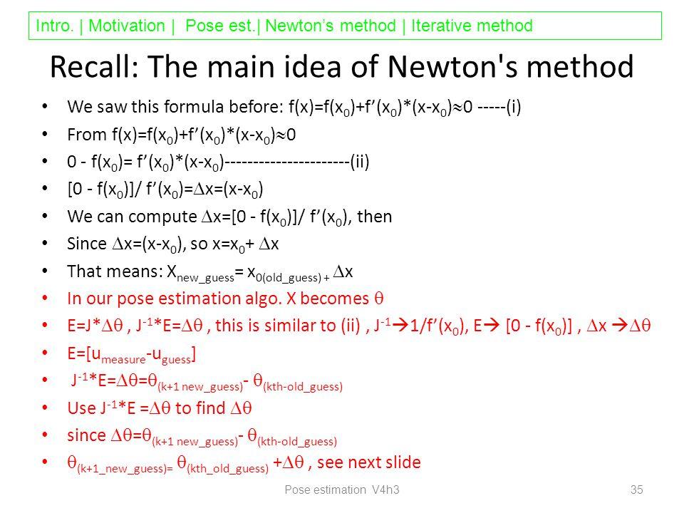 Intro. | Motivation | Pose est.| Newton's method | Iterative method Recall: The main idea of Newton's method We saw this formula before: f(x)=f(x 0 )+