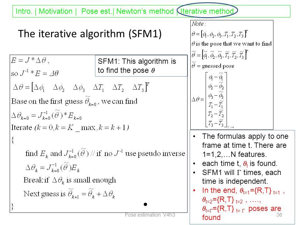 Intro. | Motivation | Pose est.| Newton's method | Iterative method The iterative algorithm (SFM1) Pose estimation V4h3 36 The formulas apply to one f