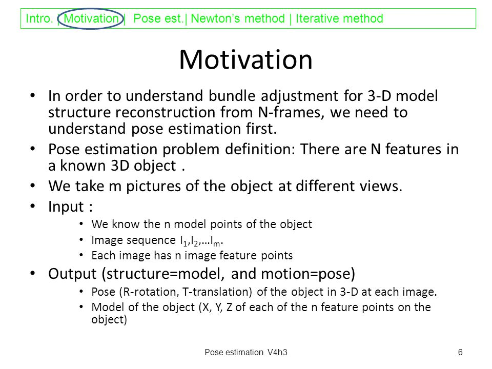 Intro. | Motivation | Pose est.| Newton's method | Iterative method Motivation In order to understand bundle adjustment for 3-D model structure recons