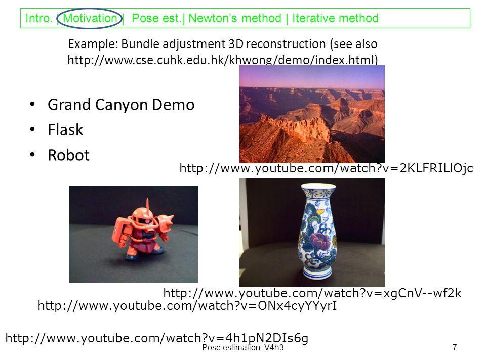 Intro. | Motivation | Pose est.| Newton's method | Iterative method Example: Bundle adjustment 3D reconstruction (see also http://www.cse.cuhk.edu.hk/