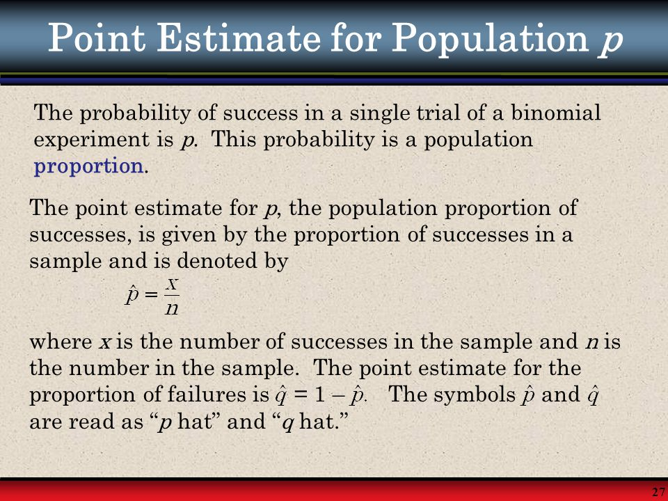 27 Point Estimate for Population p The probability of success in a single trial of a binomial experiment is p. This probability is a population propor