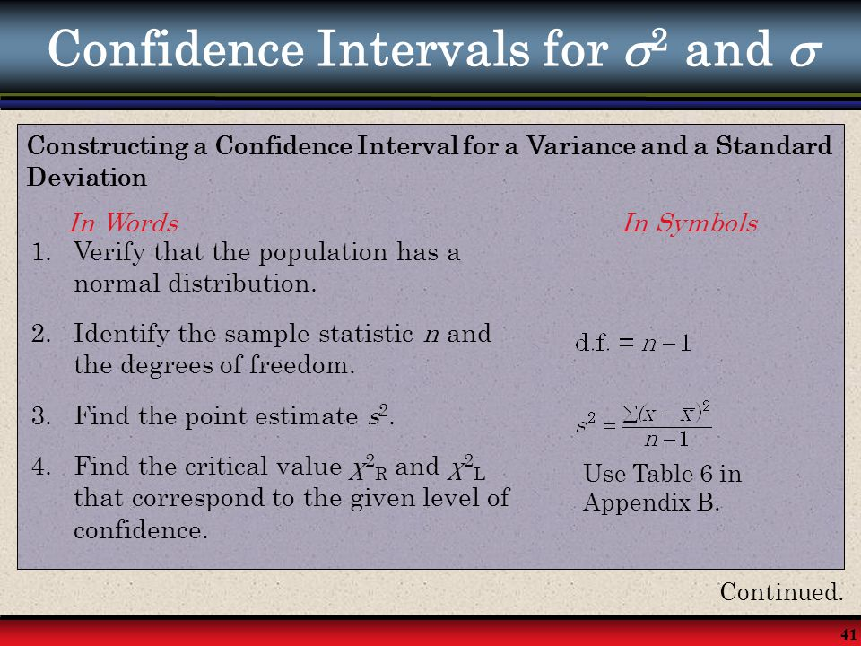 41 Confidence Intervals for  2 and  Constructing a Confidence Interval for a Variance and a Standard Deviation In Words In Symbols 1.Verify that the