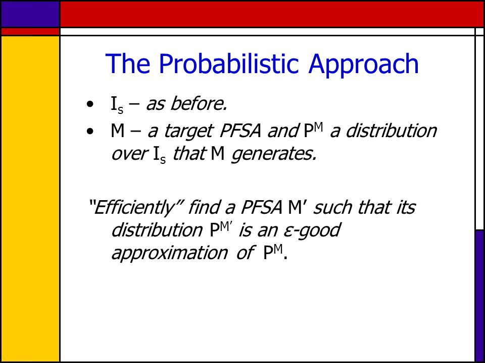 "The Probabilistic Approach I s – as before. M – a target PFSA and P M a distribution over I s that M generates. ""Efficiently"" find a PFSA M' such that"