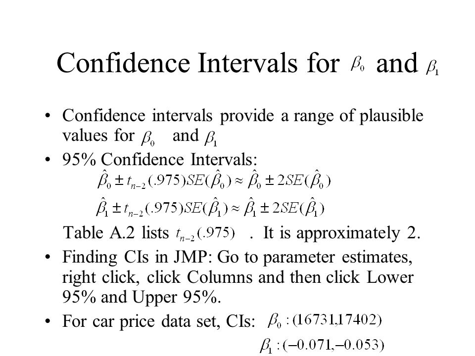 Confidence Intervals for and Confidence intervals provide a range of plausible values for and 95% Confidence Intervals: Table A.2 lists. It is approxi