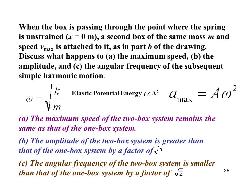 35 When the box is passing through the point where the spring is unstrained (x = 0 m), a second box of the same mass m and speed v max is attached to it, as in part b of the drawing.