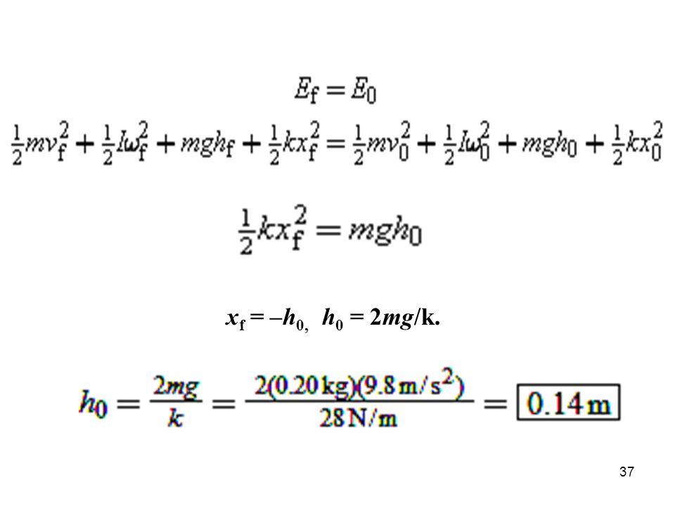 37 x f = –h 0, h 0 = 2mg/k.