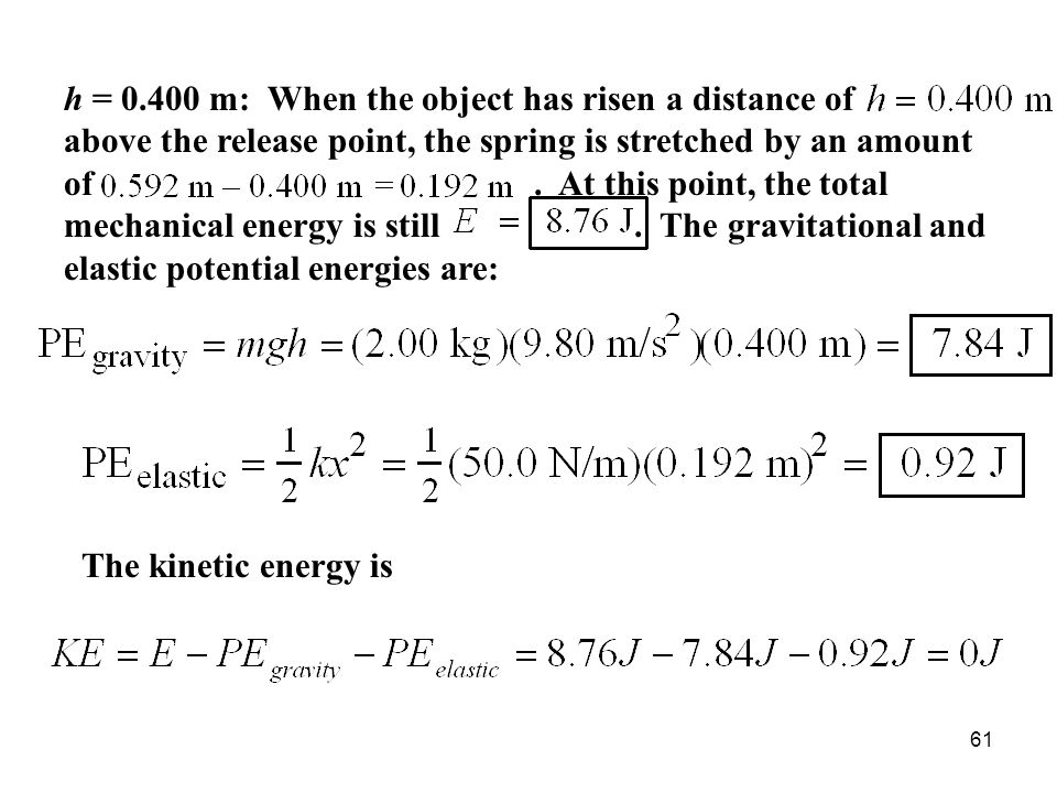 61 h = 0.400 m: When the object has risen a distance of above the release point, the spring is stretched by an amount of.