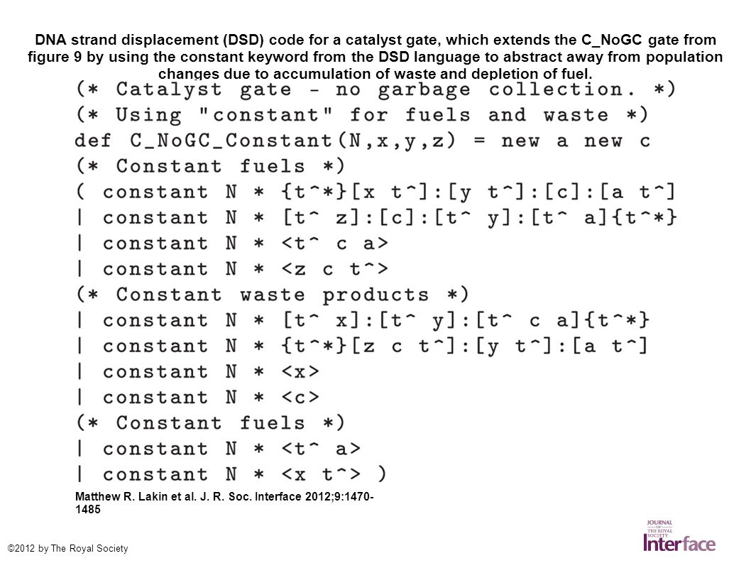 DNA strand displacement (DSD) code for a catalyst gate, which extends the C_NoGC gate from figure 9 by using the constant keyword from the DSD language to abstract away from population changes due to accumulation of waste and depletion of fuel.