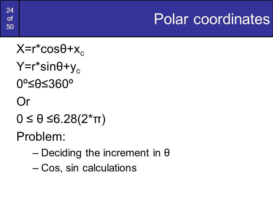 24 of 50 Polar coordinates X=r*cosθ+x c Y=r*sinθ+y c 0º≤θ≤360º Or 0 ≤ θ ≤6.28(2*π) Problem: –Deciding the increment in θ –Cos, sin calculations
