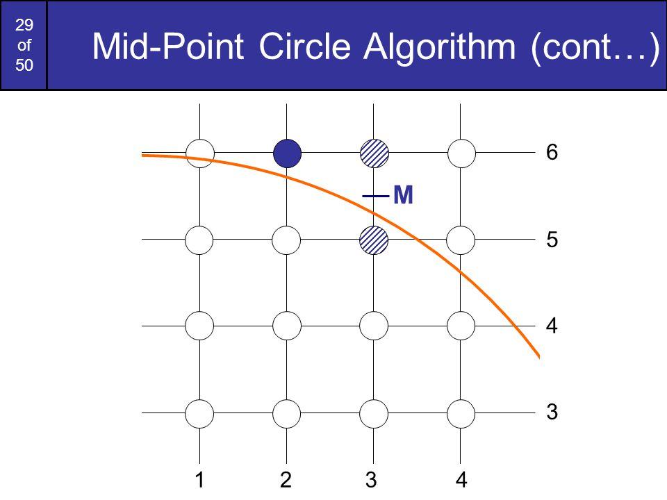 29 of 50 Mid-Point Circle Algorithm (cont…) M 6 2341 5 4 3