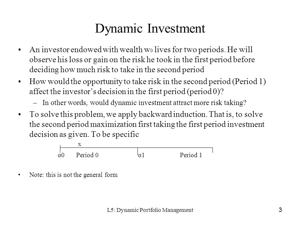 L5: Dynamic Portfolio Management3 Dynamic Investment An investor endowed with wealth w 0 lives for two periods.