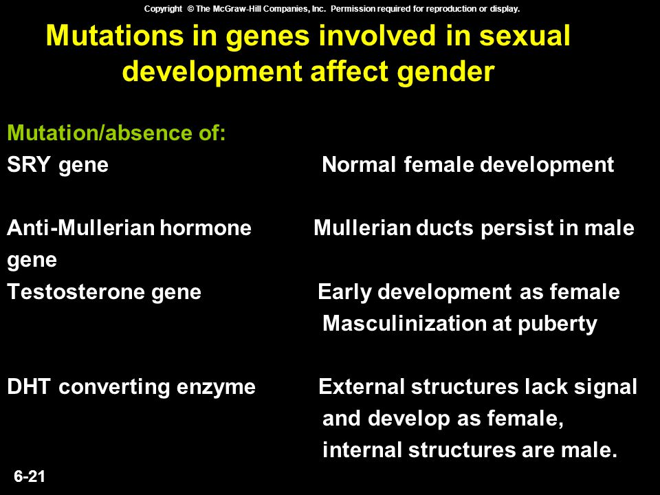 6-21 Copyright © The McGraw-Hill Companies, Inc. Permission required for reproduction or display. Mutations in genes involved in sexual development af