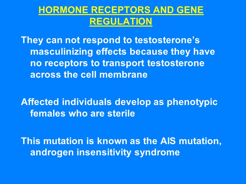 HORMONE RECEPTORS AND GENE REGULATION They can not respond to testosterone's masculinizing effects because they have no receptors to transport testost