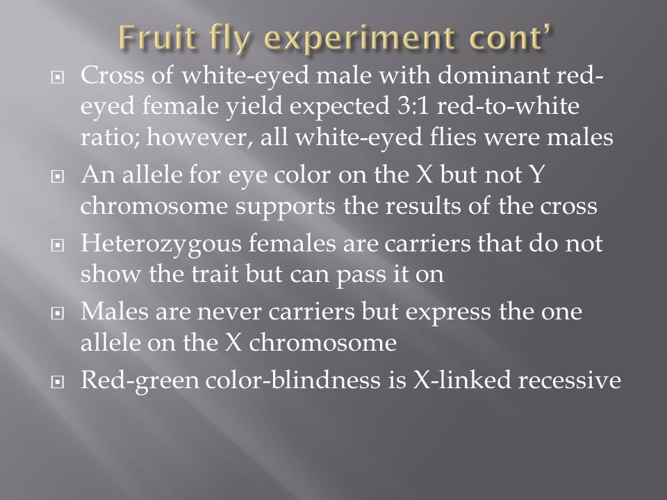  Cross of white-eyed male with dominant red- eyed female yield expected 3:1 red-to-white ratio; however, all white-eyed flies were males  An allele for eye color on the X but not Y chromosome supports the results of the cross  Heterozygous females are carriers that do not show the trait but can pass it on  Males are never carriers but express the one allele on the X chromosome  Red-green color-blindness is X-linked recessive