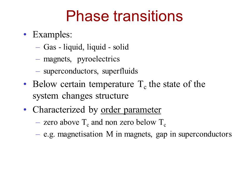 Phase transitions Examples: –Gas - liquid, liquid - solid –magnets, pyroelectrics –superconductors, superfluids Below certain temperature T c the stat