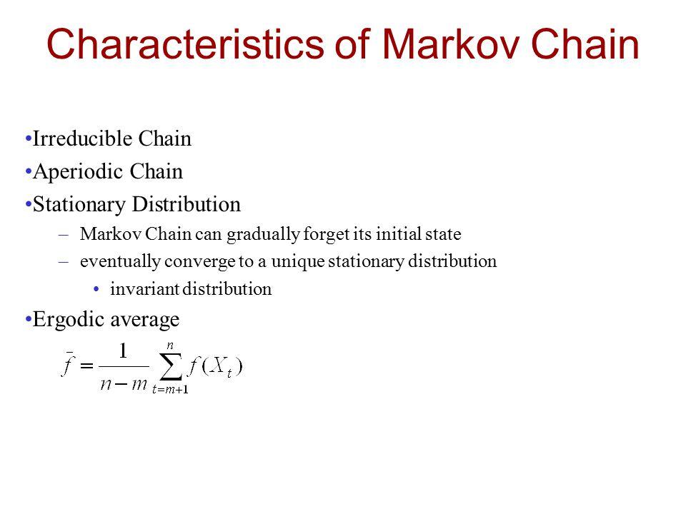 Characteristics of Markov Chain Irreducible Chain Aperiodic Chain Stationary Distribution –Markov Chain can gradually forget its initial state –eventu