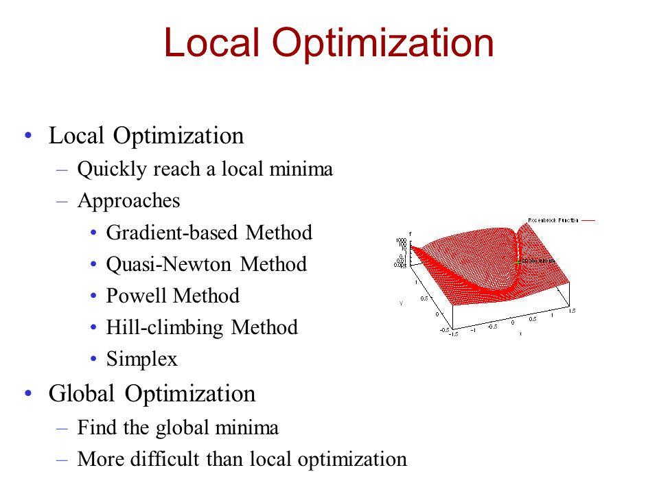 Local Optimization –Quickly reach a local minima –Approaches Gradient-based Method Quasi-Newton Method Powell Method Hill-climbing Method Simplex Glob