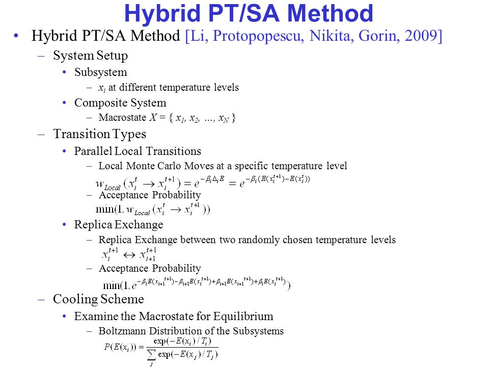 Hybrid PT/SA Method Hybrid PT/SA Method [Li, Protopopescu, Nikita, Gorin, 2009] –System Setup Subsystem –x i at different temperature levels Composite