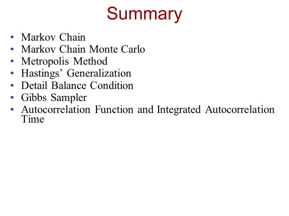 Summary Markov Chain Markov Chain Monte Carlo Metropolis Method Hastings' Generalization Detail Balance Condition Gibbs Sampler Autocorrelation Functi