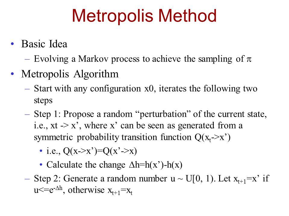 Metropolis Method Basic Idea –Evolving a Markov process to achieve the sampling of  Metropolis Algorithm –Start with any configuration x0, iterates t