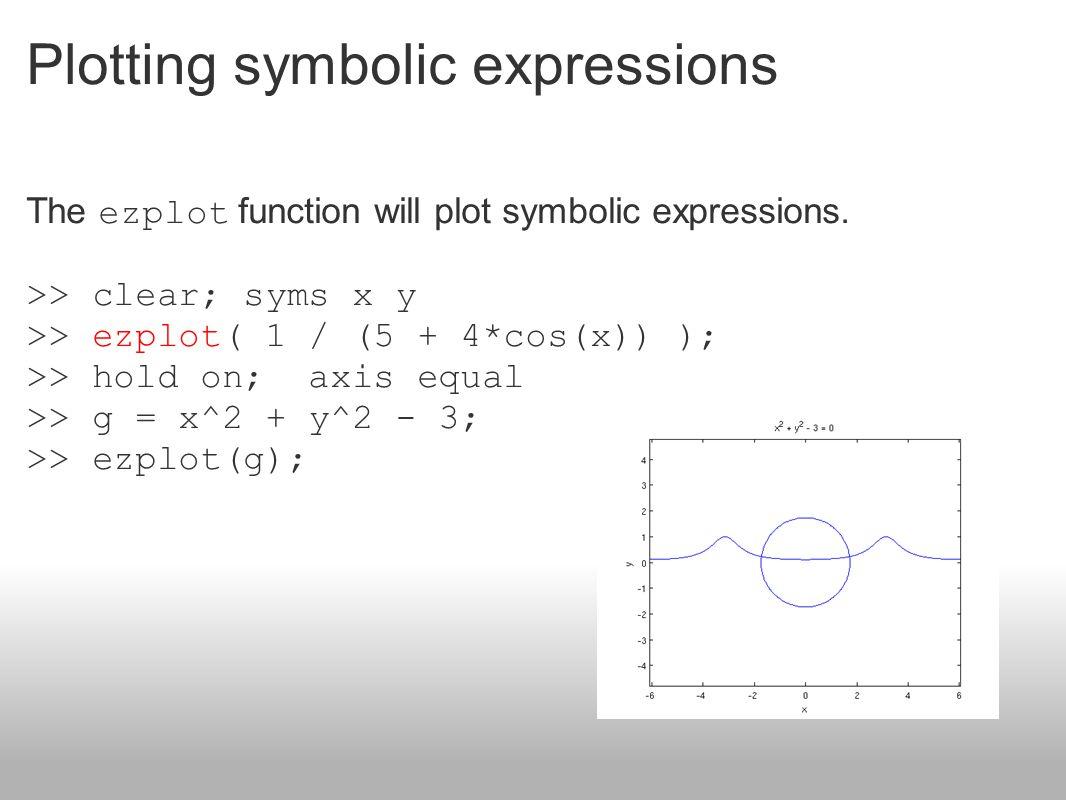 Plotting symbolic expressions The ezplot function will plot symbolic expressions. >> clear; syms x y >> ezplot( 1 / (5 + 4*cos(x)) ); >> hold on; axis