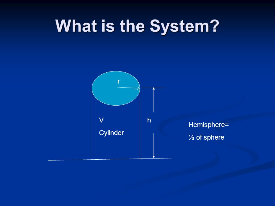 What is the System? h r V Cylinder Hemisphere= ½ of sphere r