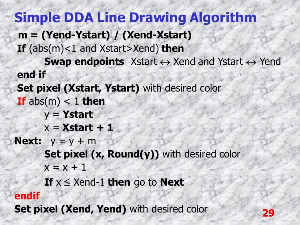 29 Simple DDA Line Drawing Algorithm m = (Yend-Ystart) / (Xend-Xstart) If (abs(m) Xend) then Swap endpoints Xstart  Xend and Ystart  Yend end if Set pixel (Xstart, Ystart) with desired color If abs(m) < 1 then y = Ystart x = Xstart + 1 Next: y = y + m Set pixel (x, Round(y)) with desired color x = x + 1 If x  Xend-1 then go to Next endif Set pixel (Xend, Yend) with desired color