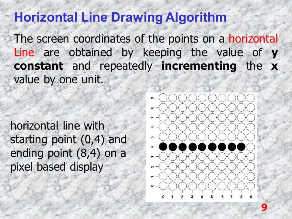 40 Bresenham 's Line Drawing Algorithm At sampling position x k +1, the vertical separations from the mathematical line path are labelled as d upper and d lower as shown in the following figure: The y coordinate on the mathematical line at pixel column x k +1 is calculated as: y = m(x k +1) + b