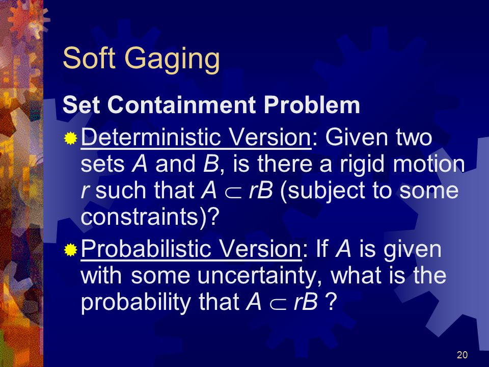 19 Some Interesting Questions …  Given uncertainties in the input data points, what is the uncertainty of the computed width .