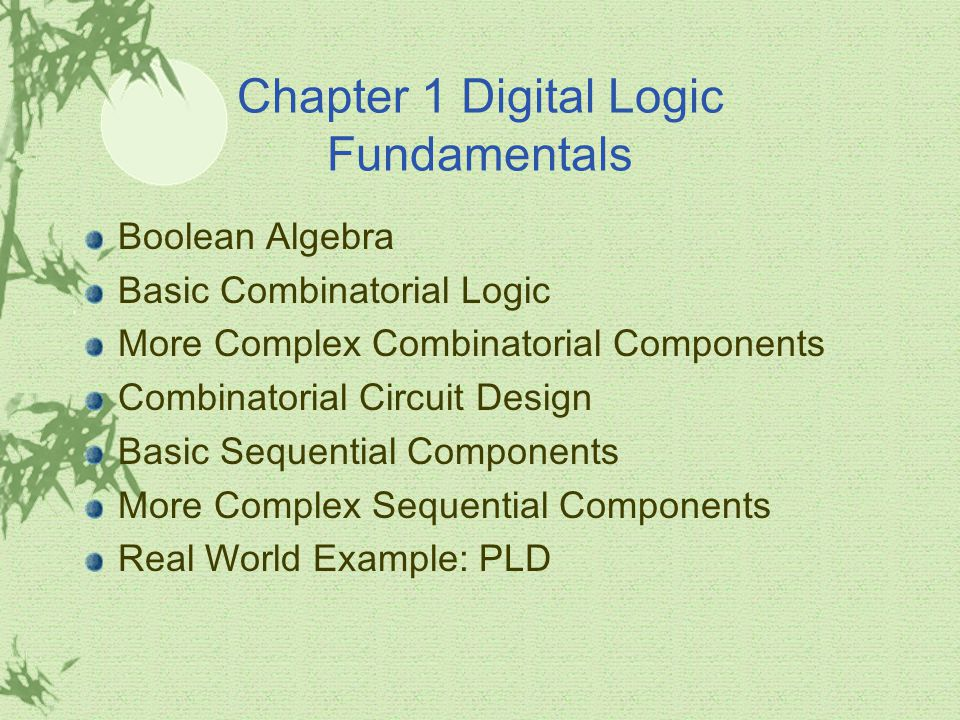 Chapter 1 Digital Logic Fundamentals Boolean Algebra Basic Combinatorial Logic More Complex Combinatorial Components Combinatorial Circuit Design Basic Sequential Components More Complex Sequential Components Real World Example: PLD