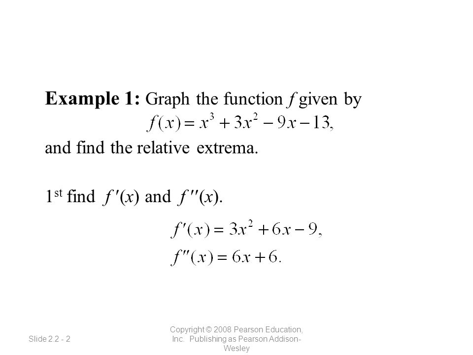 Slide 2.2 - 2 Copyright © 2008 Pearson Education, Inc. Publishing as Pearson Addison- Wesley Example 1: Graph the function f given by and find the rel
