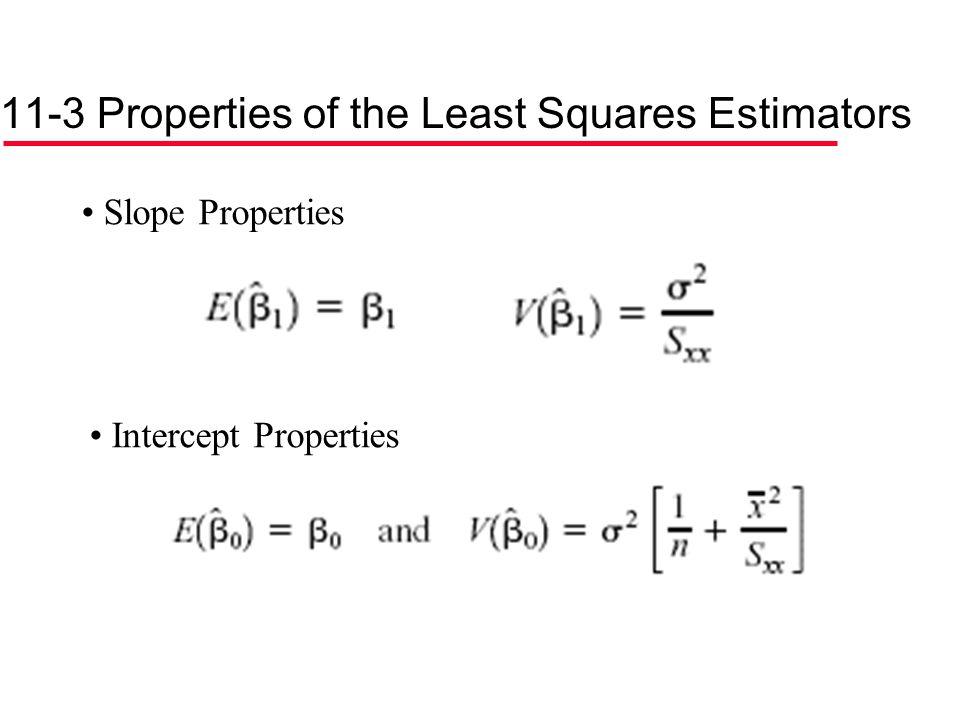 11-3 Properties of the Least Squares Estimators Slope Properties Intercept Properties