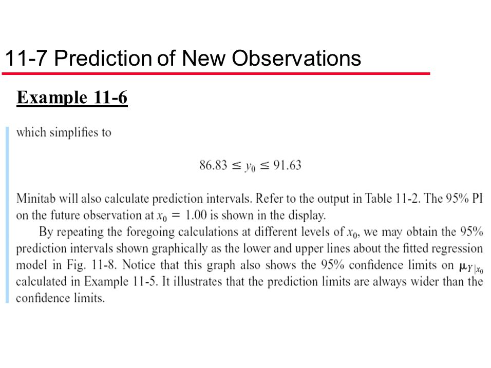 11-7 Prediction of New Observations Example 11-6