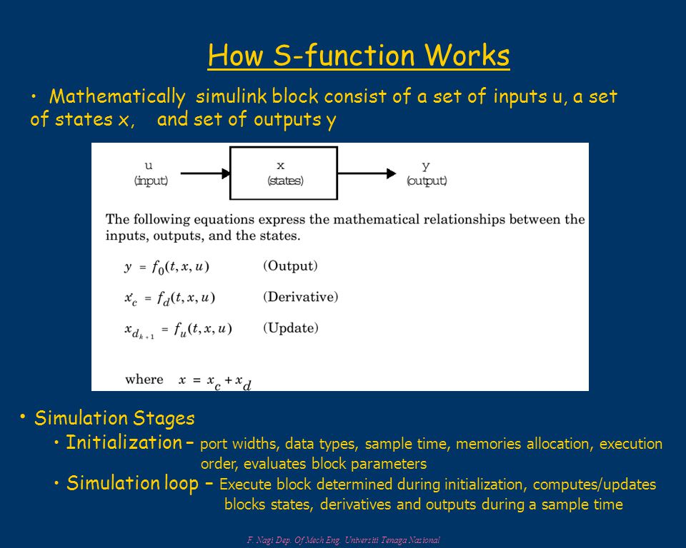 How S-function Works Mathematically simulink block consist of a set of inputs u, a set of states x, and set of outputs y Simulation Stages Initialization – port widths, data types, sample time, memories allocation, execution order, evaluates block parameters Simulation loop – Execute block determined during initialization, computes/updates blocks states, derivatives and outputs during a sample time