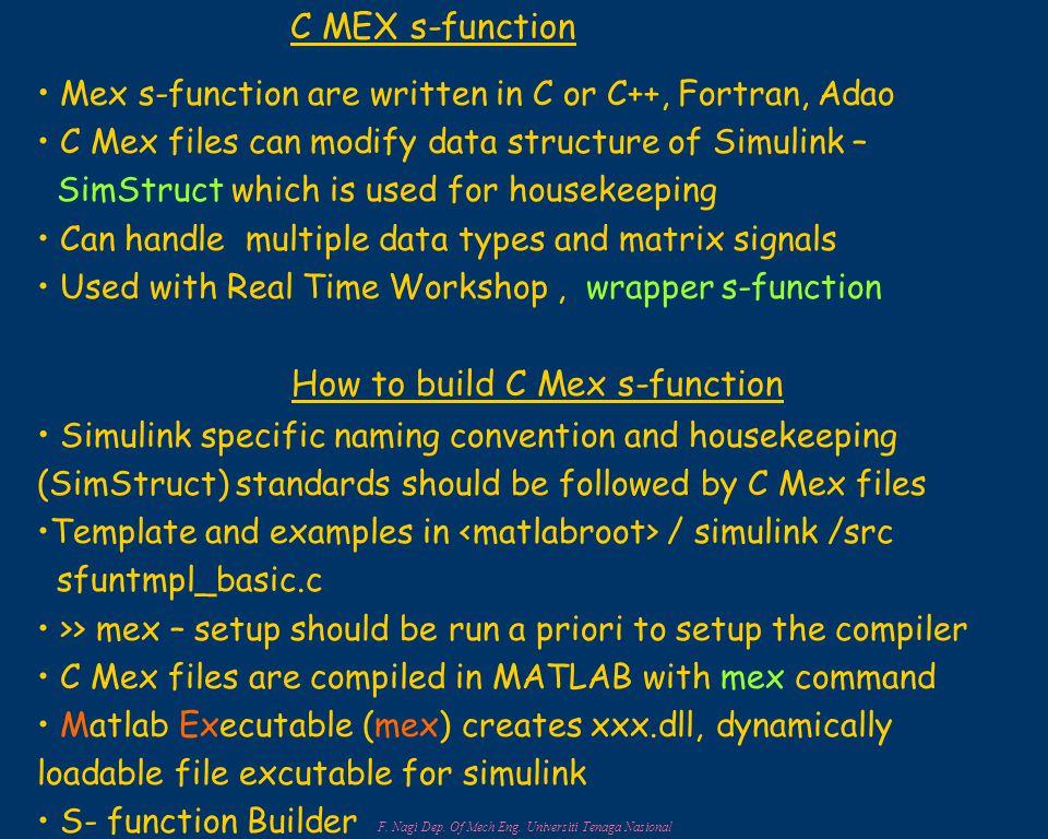 F. Nagi Dep. Of Mech Eng. Universiti Tenaga Nasional C MEX s-function Mex s-function are written in C or C++, Fortran, Adao C Mex files can modify dat