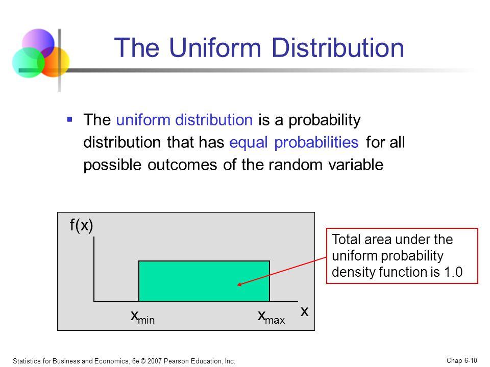 Statistics for Business and Economics, 6e © 2007 Pearson Education, Inc. Chap 6-10 The Uniform Distribution  The uniform distribution is a probabilit