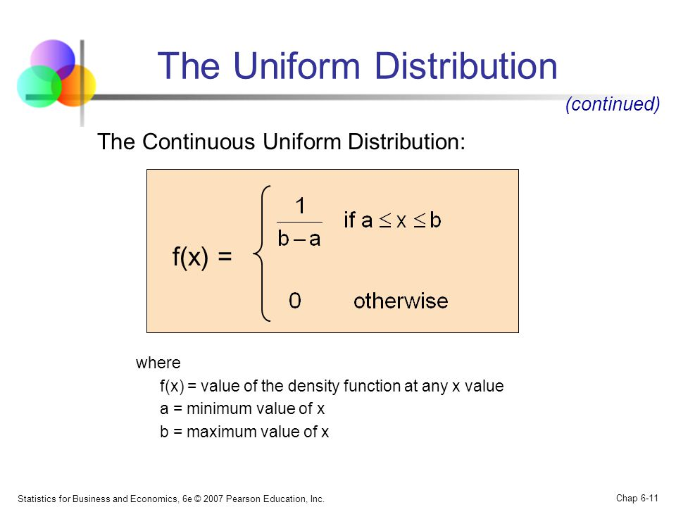 Statistics for Business and Economics, 6e © 2007 Pearson Education, Inc. Chap 6-11 The Continuous Uniform Distribution: where f(x) = value of the dens