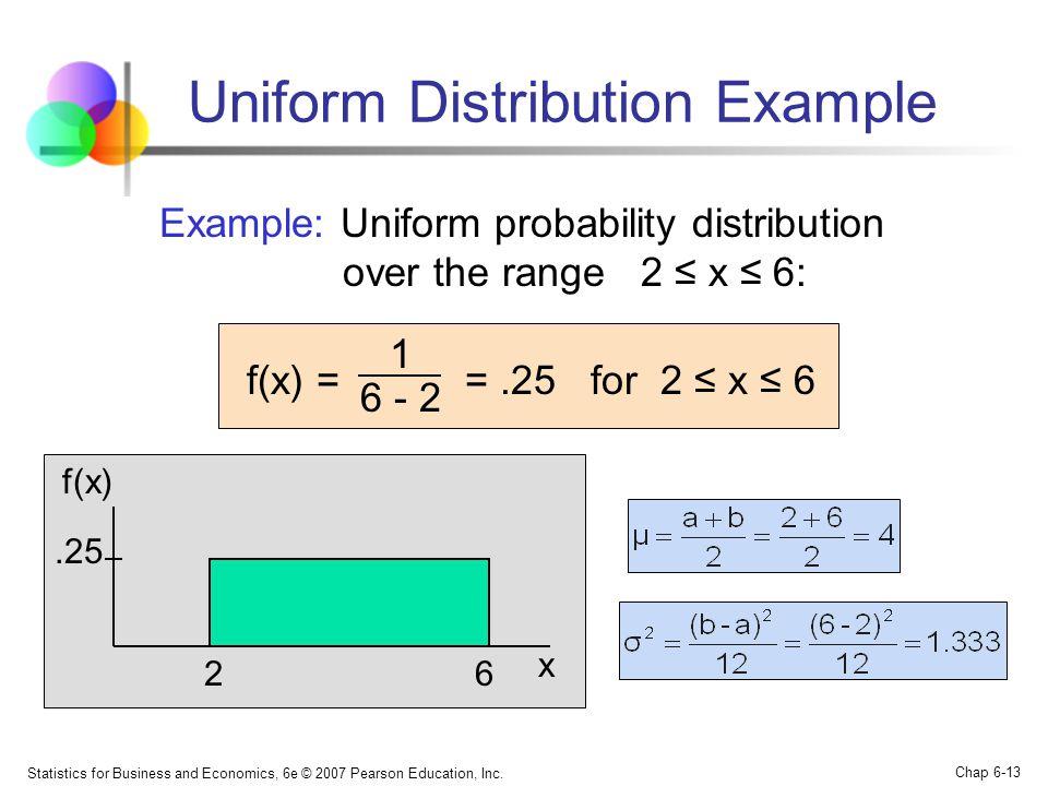 Statistics for Business and Economics, 6e © 2007 Pearson Education, Inc. Chap 6-13 Uniform Distribution Example Example: Uniform probability distribut