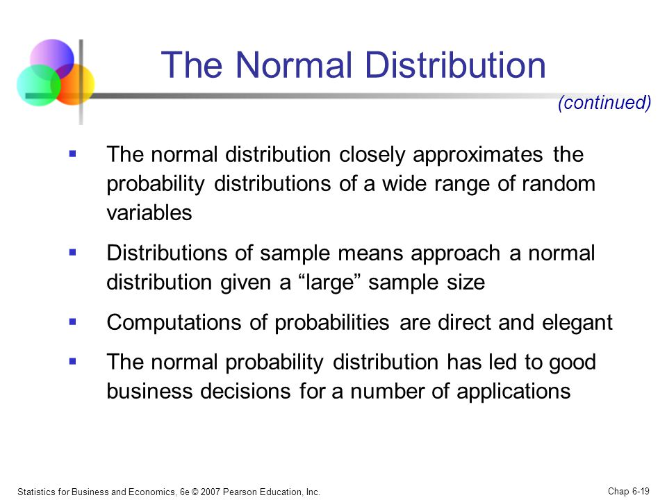 Statistics for Business and Economics, 6e © 2007 Pearson Education, Inc. Chap 6-19 The Normal Distribution  The normal distribution closely approxima