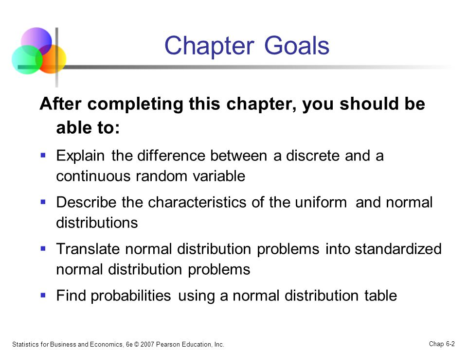 Statistics for Business and Economics, 6e © 2007 Pearson Education, Inc. Chap 6-2 Chapter Goals After completing this chapter, you should be able to: