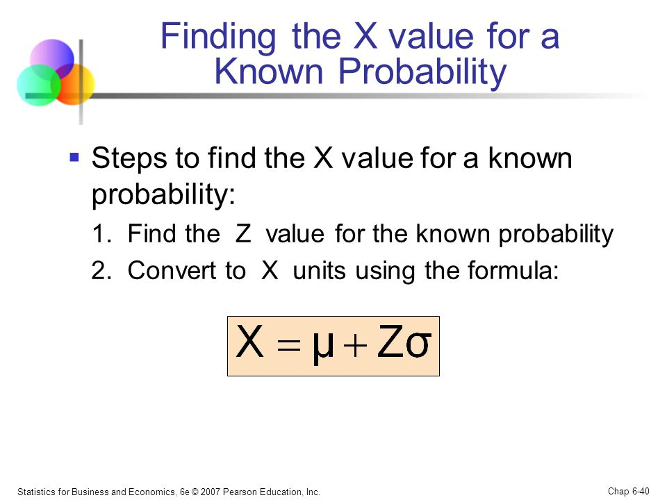 Statistics for Business and Economics, 6e © 2007 Pearson Education, Inc. Chap 6-40  Steps to find the X value for a known probability: 1. Find the Z